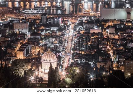 Haifa, Israel, December 08, 2017 : View of the festively decorated for the celebration of Christmas the Downtown from Mount Carmel in Haifa in Israel