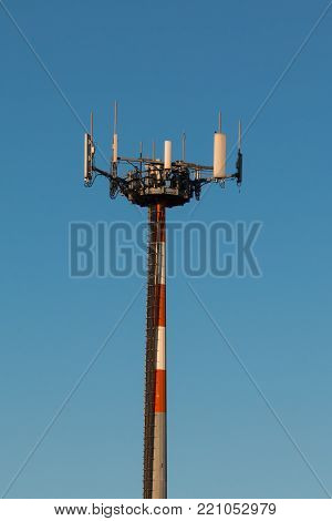 Telecommunication Towers with Antennas for Radio Communication and Cell Broadcast.