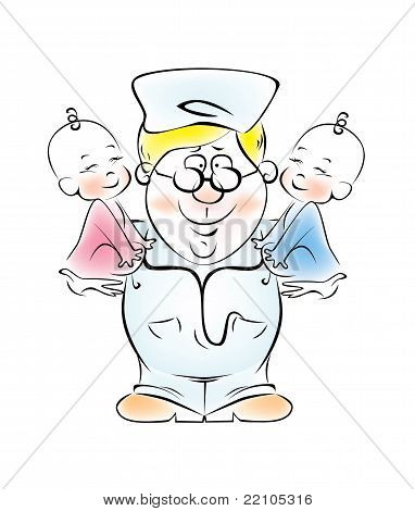 Illustration of a pediatrician, who is holding the twins.