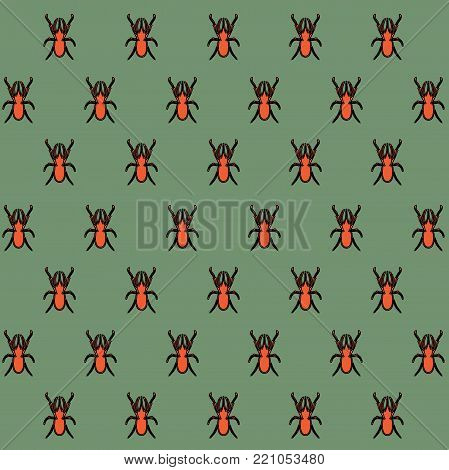 Background (texture) in oriental style - a pattern from a rhinoceros beetle. Insects are orange on a green background. Beetles are staggered. Stylish bright, cheeky pattern for the fabric.