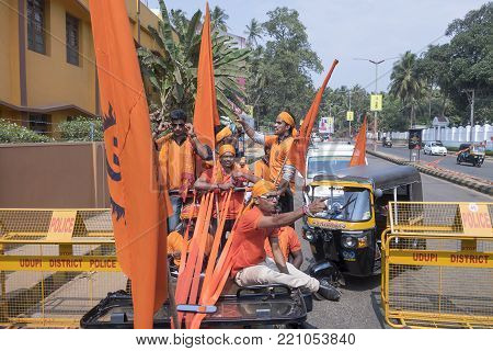 DELHI, INDIA - March 9, 2015: The young generation of a part of the electorate of India demonstrating the support of the Narendra Modi's Party in Karnataka, Udupi