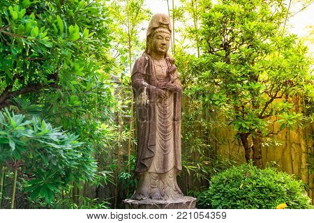 Goddess of Mercy known as Quan Yin or Guan Yin or Guan Yim in national park at Tokyo,Japan 16 December 2017