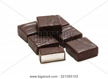 Chocolate candies isolated on white background, bird's milk