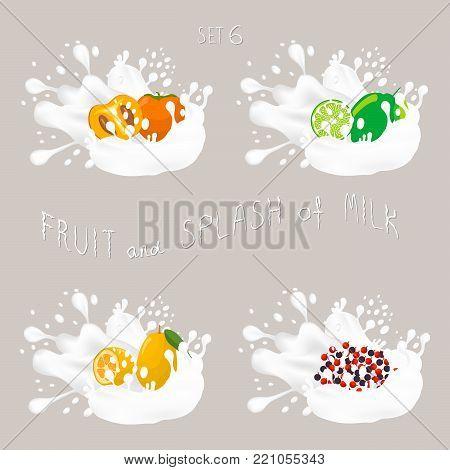 Vector icon illustration logo for fruit lime, persimmon, kumquat, currant, splash of drop white milk. Lime pattern of splashes drip flow Milk. Eat fruits limes, persimmons, kumquats, currants in milks