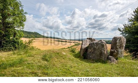 Coldrum Long Barrow, Kent, England. The Coldrum Stones are the remains of an early neolithic barrow built around 4000BC near Trottiscliffe in the English county of Kent.