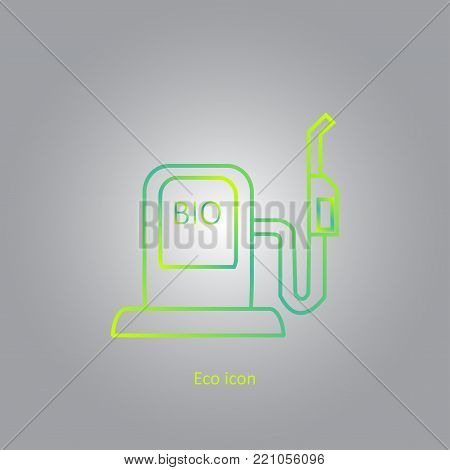 Vector simple eco related outline gradient icon of car filling station. Alternative renewable electricity generation. Isolated bio filling station design element in trendy style. Eco concept.