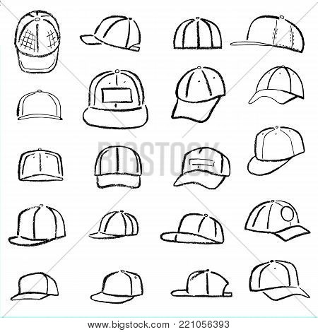 Baseball, tennis, rap cap outlined oil pastel template sketch (front, back and side views) and man head, illustration isolated on white background
