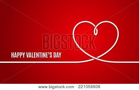 Valentines day banner. Valentines heart line on red background 10 eps