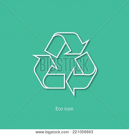 Vector simple eco related outline recycle icon. Isolated recycle design element in trendy paper art 3d style. Eco concept for print or info graphic. Recycle or reuse concept.