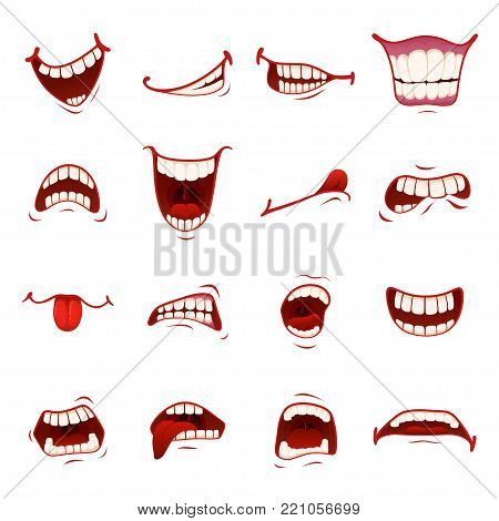 Cartoon mouth with teeth. Dynamic cartoon character mouth animated element to show character emotion and expression, shock, surprise. Vector flat style cartoon illustration isolated, white background