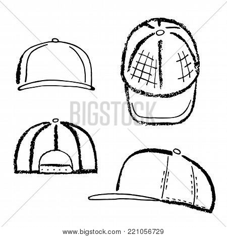 Baseball, tennis, rap cap outlined oil pastel template sketch (front, back and side views), vector illustration isolated on white background