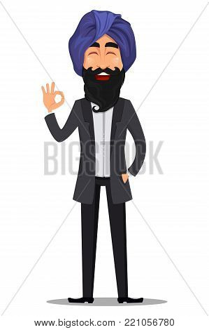 Indian business man cartoon character. Young handsome businessman in business suit and turban showing ok sign - stock vector