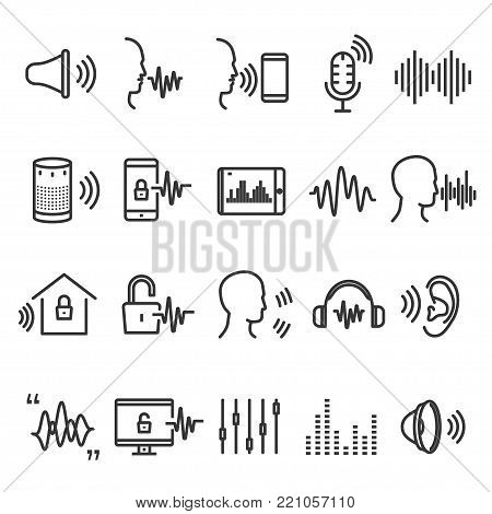 Speech recognition device. Computer technology scheme of voice dialing, call routing and voice search. Vector flat style cartoon illustration isolated on white background