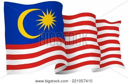 Malaysia flag waving isolated on white in vector format. 3D illustration