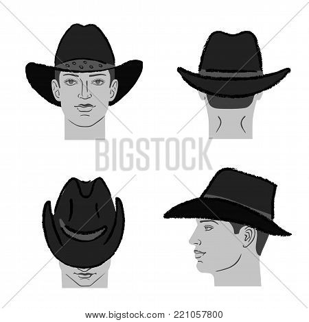 Cowboy hat outlined oil pastel template sketch (front, back, side views) and man head, vector illustration isolated on white background