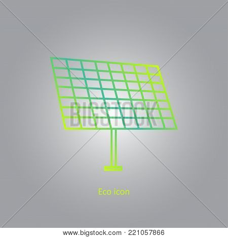 Vector simple eco related outline gradient icon of solar panel. Alternative renewable electricity generation. Isolated solar panel design element in trendy style. Eco concept for print or info graphic