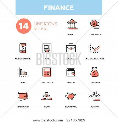 Business and finance - line design icons set. Options, items, services. Bank card, coins stack and bag, mobile banking, ATM, briefcase, increasing chart, calculator, wallet, ingot, piggy, auction