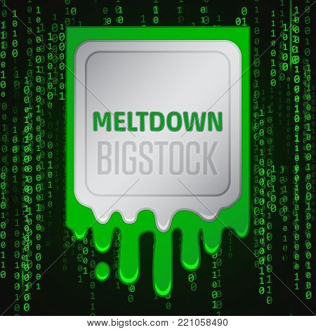 Meltdown vulnerability concept on a binary code background