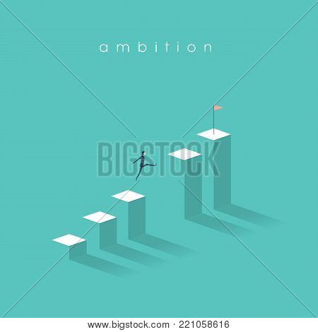 Business ambition vector concept with businessman jumping over gap and moving up on graph. Symbol of motivation, confident thinking, success, opportunity. Eps10 vector illustration.