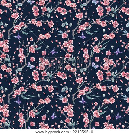Watercolor spring vintage floral seamless pattern with pink blooming branches of cherry peach, pear, sakura, apple trees and butterflies, flower botanical illustration on black background