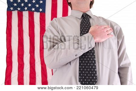 a man in tie and usa flag isolated no white.