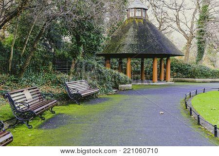 DUBLIN, IRELAND - January 6th, 2018: Gazebo in Saint Stephen's Green park in Dublin city centre on a calm, overcast and cold winter day