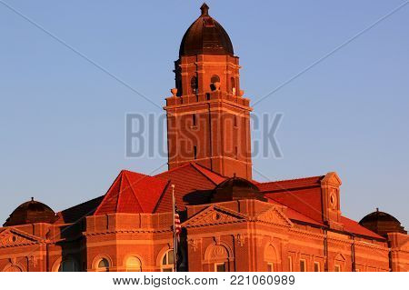 Beautiful county brick courthouse with a tall tower