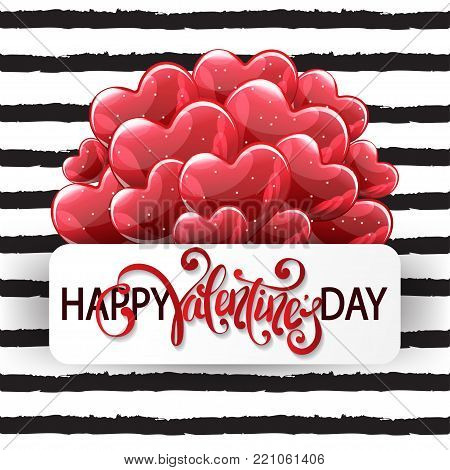 Vector romantic holiday illustration of red helium glossy balloon hearts,