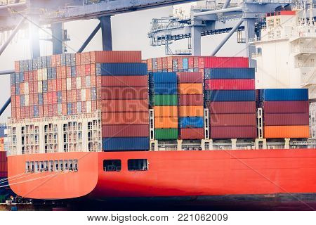 Logistics import export concept and transport industry of container cargo freight ship in the Seaport, Freight transportation, Shipping