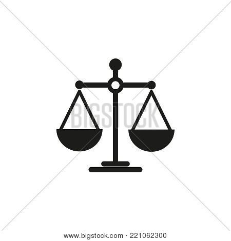 Scales of balance icon on the white background