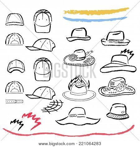 Summer hats, caps outlined oil pastel template sketch set (front view), vector illustration isolated on white background