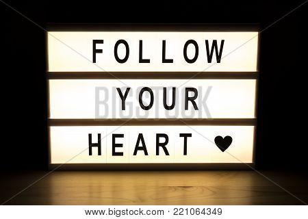 Folow Your Heart Light Box Sign Board