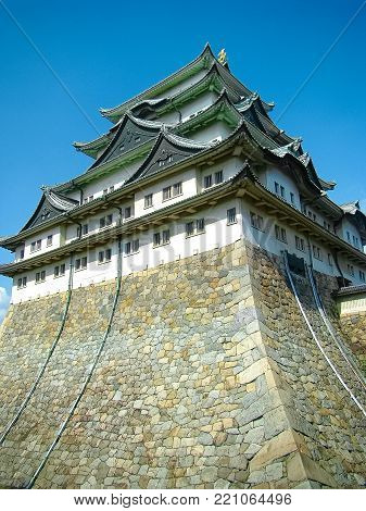 Nagoya Castle is a Japanese castle in Nagoya, Aichi Prefecture, Japan. Nagoya Castle was built in 1612 and destroyed by US air raids in World War II. The castle was reconstructed in 1959.