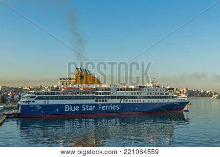 PIRAEUS, GREECE - APRIL 30, 2013: Port of city of Piraeus, Athens, Attica, Greece