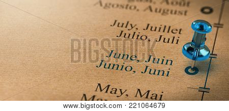 3D illustration of project or business planning with a pushpin pointing on june. Months of the year concept. poster