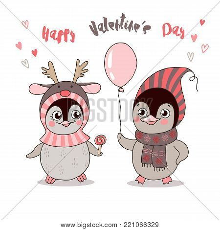 Two cute penguins fallen in love. Funny birds got dressed in warm clothes, have a balloon on white background. Lovely crafted design for Valentine's Day, wedding, postcards and prints.