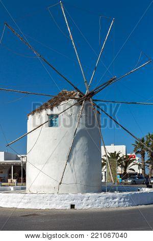 NAXOS, GREECE - MAY 4, 2013: White windmill at Naxos Island, Cyclades, Greece