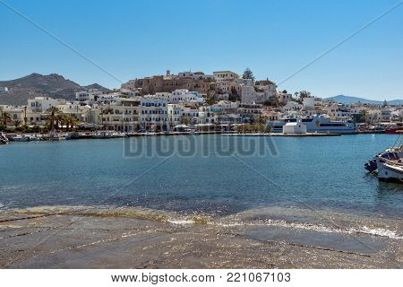 NAXOS, GREECE - MAY 4, 2013: Panoramic view of Naxos Island, Cyclades, Greece