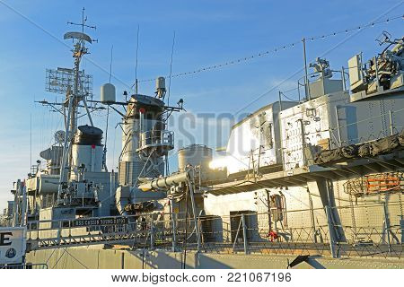 BOSTON - APR. 30, 2016: USS Cassin Young DD-793 berthed at Charlestown Navy Yard, Boston, Massachusetts, USA. DD-793 was a Fletcher class destroyer of the U.N. Navy served during World War II.