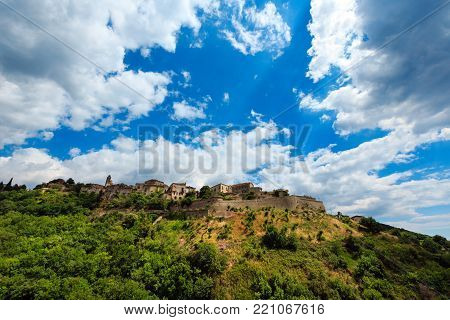 Old Belmonte Calabro town on mountain hill top, province of Cosenza, Calabria, Italy.