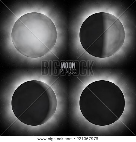 Vector realistic moon phases. Four basic moon phases