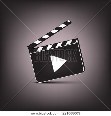 Clapperboard with play symbol on brown background. Vector cinema illustration