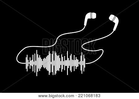 White sound wave with headphones on black bacgrounds. Vector t-shirt or poster design