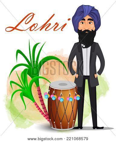Indian sikh man in turban standing near drum and sugarcane. Happy Lohri greeting card. Makar sankranti. Vector illustration on white background.
