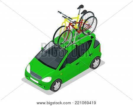 Modern Mini car with two bicycles mounted on the roof rack. Flat style vector illustration isolated on white background.