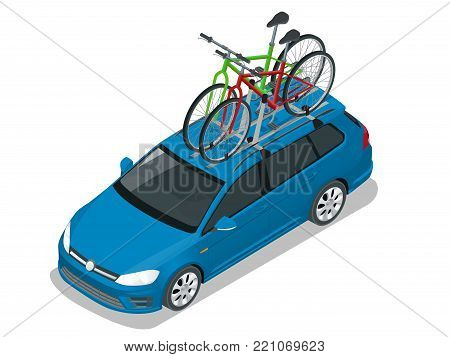 Isometric wagon car with two bicycles mounted on the roof rack. Flat style vector illustration isolated on white background