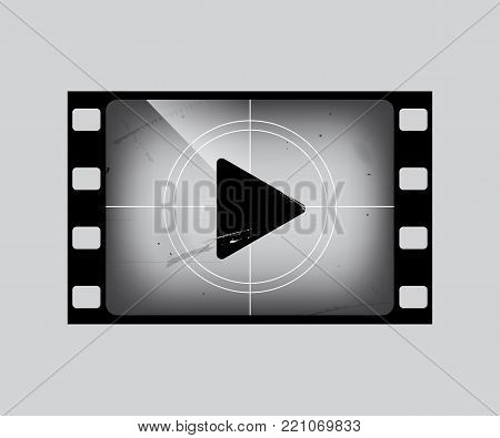 Film frame with play simbol isolated on grey. Vector grunge film strip part