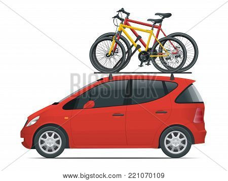 Side view flat red Mini car with two bicycles mounted on the roof rack. Flat style vector illustration isolated on white background