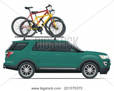 Side view suv car with two bicycles mounted on the roof rack. Flat style vector illustration isolated on white background