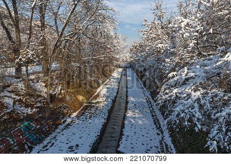 SOFIA, BULGARIA - NOVEMBER 29, 2017: Winter view of Perlovska river, Sofia, Bulgaria